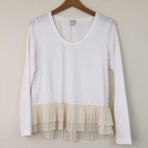J. Crew Pleated Hem T-shirt Blouse White Tan L
